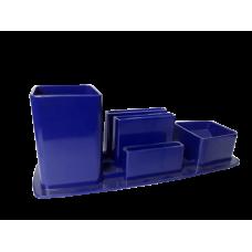 Trio porta lapis/clipes/lembrete - Azul opaco