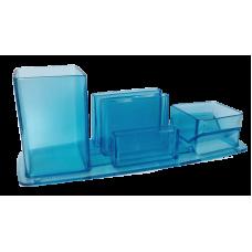Trio porta lapis/clipes/lembrete - azul translucido