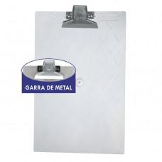 Prancheta plástica oficio cristal garra metal