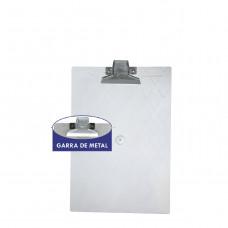 Prancheta plástica 1/2 oficio cristal garra metal