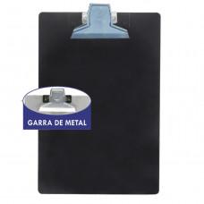 Prancheta plástica oficio preta garra metal