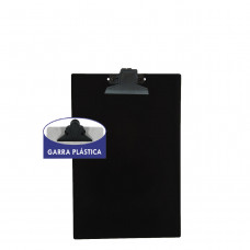 Prancheta plástica 1/2 ofício preta garra plástica
