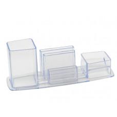 Trio porta lapis/clipes/lembrete - cristal translucido